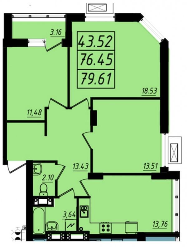 Планировки трехкомнатных квартир 79.61 м^2